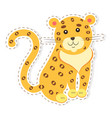 cute jaguar cartoon flat sticker or icon vector image