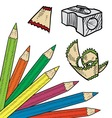 Doodle colored pencil sharpen vector image
