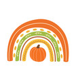 fall rainbow with pumpkin cute autumn greeting vector image vector image