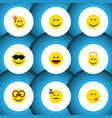 flat icon face set of pleasant smile laugh and vector image vector image