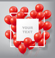 flying realistic glossy red balloons with frame vector image vector image
