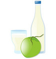 fresh coconut and coconut juice in glass vector image