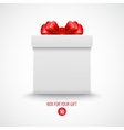 Gift white box with a red bow vector image vector image
