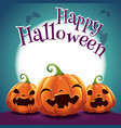 halloween poster with realistic pumpkins on dark vector image vector image