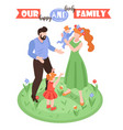 happy lovely family background vector image vector image