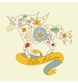 Hello autumn floral horse vector image