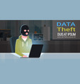 man black mask sitting at computer hacker activity vector image vector image