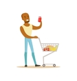 Man With Cart Of Groceres Shopping In Department vector image vector image