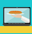 on line food ordering with sandwich concept vector image