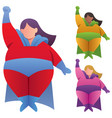 overweight superheroine flying on white vector image