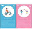 people in park girl riding bike boy play ball vector image vector image