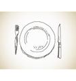 plate knife fork vector image