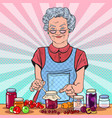 pop art senior woman making jam healthy eating vector image vector image