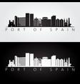 port of spain skyline and landmarks silhouette vector image