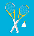 retro flat badminton icon concept vector image