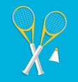 Retro flat badminton icon concept