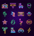retro style neon icons vector image vector image