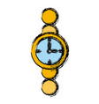round classic mechanic hand watch with numerals vector image