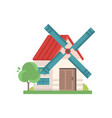 rural windmill building ecological agricultural vector image vector image