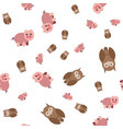 seamless pattern made of pig and owls vector image vector image