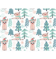 seamless pattern with cute piglets vector image