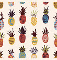 seamless pattern with pineapples of various color vector image