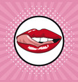 sexy lips pop art vector image vector image