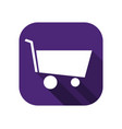 shopping cart flat icon with long shadow shop vector image vector image