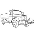 sketch a truck coloring book isolated object vector image vector image
