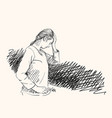 sketch young woman has headache holding hand vector image