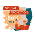 special promotion banner with elderly woman vector image