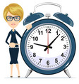 time management business woman holding alarm vector image vector image