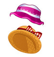 two summer womens hats in vintage style isolated vector image