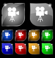 Video camera icon sign Set of ten colorful buttons vector image vector image