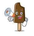 with megaphone chocolate ice cream character vector image vector image