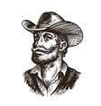 Cowboy rancher or farmer Hand drawn sketch vector image