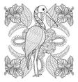 Zentangle Hand drawn Stork in Hibiskus for adult vector image