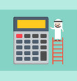 arab businessman standing in ladder with big vector image vector image