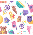 baby shop seamless pattern with goods for babies vector image