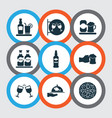 beverages icons set with nightclub rum ale and vector image