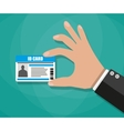 Businessman Hand holding Id card vector image vector image
