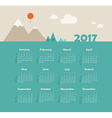 Calendar 2017 with mountain Week Starts Sunday vector image