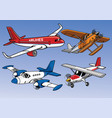 collection of modern airplane colored version vector image vector image