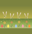 colorful happy easter greeting card with rabbits vector image vector image