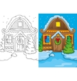 Coloring Book Of Christmas House At Night vector image