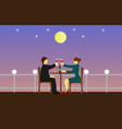 couples are sipping wine on a wooden table vector image
