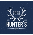 Deer Hunters Club Abstract Vintage Label or Logo vector image vector image