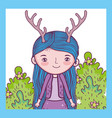 fantastic creature girl with antlers in th bushes vector image vector image