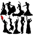Flamenco Woman Dancer Silhouettes vector image vector image
