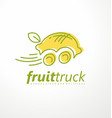 fruit truck market logo design idea vector image vector image